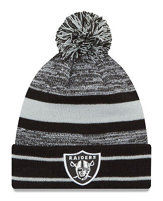 detailed look 8e0af 14dba Oakland Raiders Chase Striped Sports Knit Beanie Cap Hat NFL New Era •  25.99
