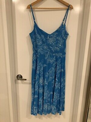 AU14 • Buy ASOS Strappy Pleat Blue Dress Sz 18 BNWT