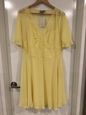 AU20 • Buy ASOS Sheer Yellow Dress With Slip Sz18 BNWT