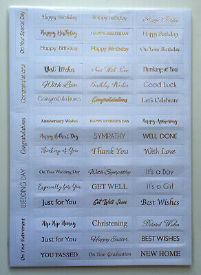 ANY OCCASION SENTIMENTS - Topper Sheet - Die Cut - Gold Foiled - Card - 50pcs • 1£