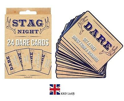 £2.85 • Buy 24 STAGS DO PARTY DARE CARDS Stag Night Out Blue Accessories Guys Novelty Box UK