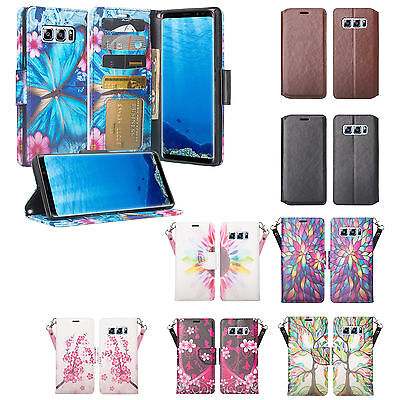 $ CDN20.23 • Buy For Samsung Galaxy Note 8 Case, Magnetic Leather Wallet Cover, Tempered Glass