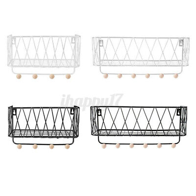 Metal Wire Wooden Wall Shelf Rack Storage Unit Basket With Hooks Hanging Hanger • 8.99£