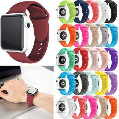 $ CDN10.99 • Buy For Apple Watch Series 4/3/2/1 38/42 Sport Replacement Silicone Wrist Band Strap