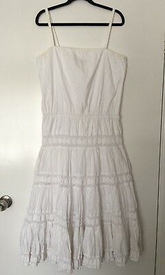 AU19 • Buy CHARLIE BROWN White Summer Maxi Dress Size 14 #12352