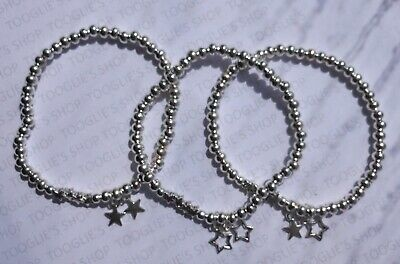 £6.99 • Buy Handmade Silver Plated Stacking Bead Stretch Bracelet With Star Charm (008)