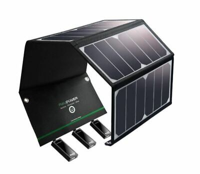 AU160.13 • Buy Solar Charger 24W Solar Panel 3 USB Ports Waterproof Foldable Camping Iphone New