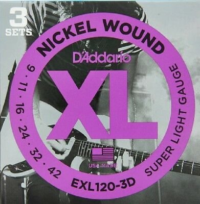 $ CDN17.48 • Buy 3 Sets D'Addario EXL120 Electric Guitar Strings 9-42 Super Light Exl120-3D