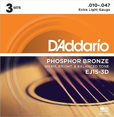 $ CDN22.05 • Buy 3 Sets D'Addario EJ15-3d Phosphor Bronze X Light 10-47 Acoustic Guitar Strings