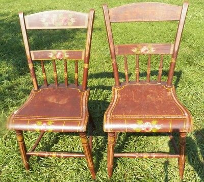 $125 • Buy Set 2 Antique Plank Seat Decorated Chairs 1/2 Spindle Backs Brown With Flowers