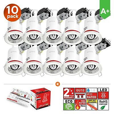 10x Fire Rated Fixed White LED GU10 Downlights Ceiling Recessed Spotlights • 34.99£