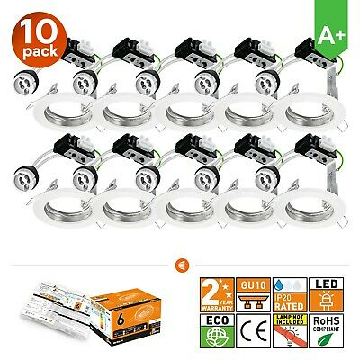 10x Modern Fixed White LED GU10 Downlights Recessed Ceiling Spot Lights • 15.95£
