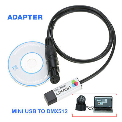 USB To DMX512 Interface Adapter Controller Computer Stage-Lighting Control Kit • 10.99£