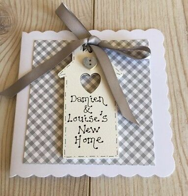 Handmade CARD Wooden Tag HOUSE New Home Personalised Gingham Ribbon Friends • 4.99£