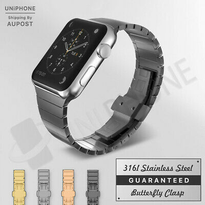 AU22.95 • Buy 【Butterfly Buckle】Apple Watch Band Link Bracelet Steel Strap IWatch 5 4 3 2 1