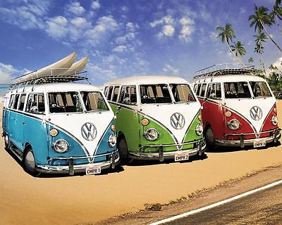 £20 • Buy VW Camper Van Stretched Canvas Wall Art Poster Print Surfing Volkswagen Beetle
