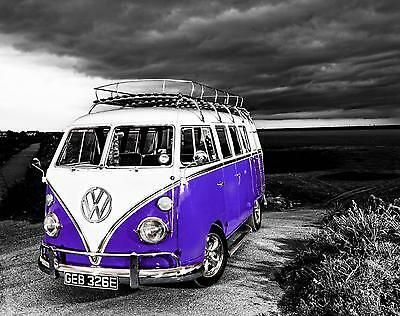 £35 • Buy VW Camper Van Purple Canvas Stretched Wall Art Poster Print Surfing Campervan