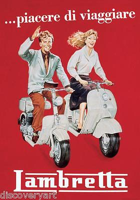 Vintage Lambretta Stretched 50s Poster Canvas Wall Art Print Automotive Scooter • 20£