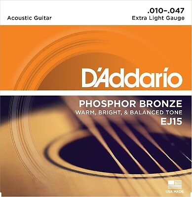 $ CDN10.24 • Buy D'Addario EJ-15 Phosphor Bronze Extra Light Acoustic Guitar Strings 10-47