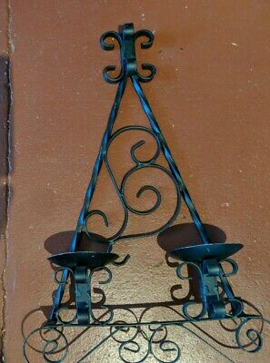 Wrought Iron Gothic Double Candle Wall Sconce Medieval Style • 28.39£