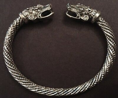 Adjustable Norse Viking Wolf Head Silver Open Bracelet Dragon Fenrir Bangle F2  • 6.95£