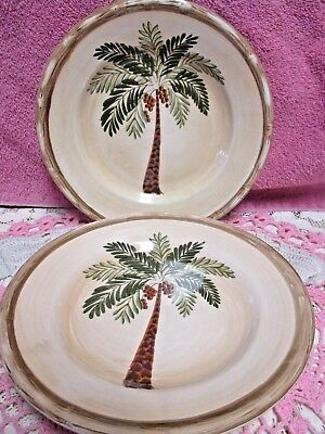$8.58 • Buy Home Trends West Palm  Salad Plates  8  Set Of 2  Palm Tree