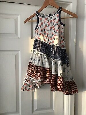 Girls George Black White Pink Hippy Chic Lined Sleeveless Dress Age 3-4 Years