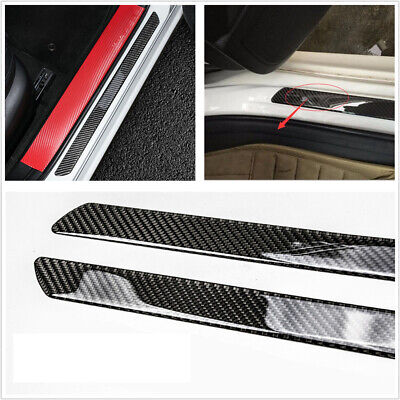 AU34.06 • Buy 2X Car Accessories Carbon Fiber Door Sill Scuff Plate Cover Panel Step Protector