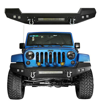 AU596.99 • Buy CLIMBER Front Bumper W/ LED Light Bar For 2007-2018 Jeep Wrangler JK & Unlimited