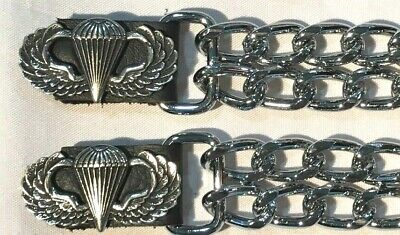 $11.99 • Buy 2 Airborne Military Diamond Cut Chrome Chain Motorcycle Vest Extenders Usa Made