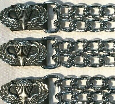 $17.99 • Buy 3 Airborne Military Diamond Cut Chrome Chain Motorcycle Vest Extenders Usa Made