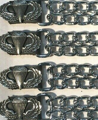 $23.99 • Buy 4 Airborne Military Diamond Cut Chrome Chain Motorcycle Vest Extenders Usa Made