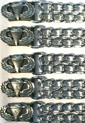 $29.99 • Buy 5 Airborne Military Diamond Cut Chrome Chain Motorcycle Vest Extenders Usa Made