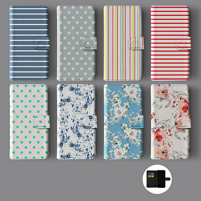 £9.89 • Buy Stripes Flowers Shabby Chic Stripes Lines Leather Wallet Phone Case For Iphone