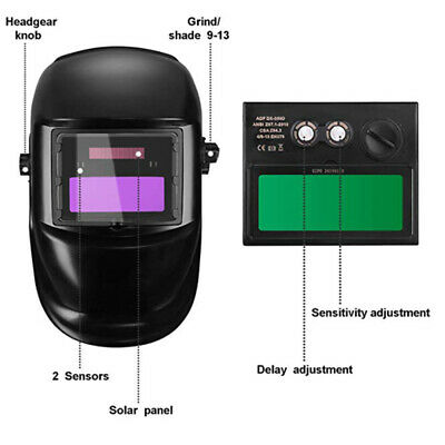 $ CDN22.43 • Buy Auto Darkening Welding Helmet Mask Welders Grinding Solar Power Black