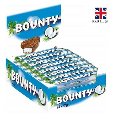 BOUNTY MILK CHOCOLATE 57g X 24 Bars FULL CASE Box Free Delivery Cheapest NEW UK • 24.35£