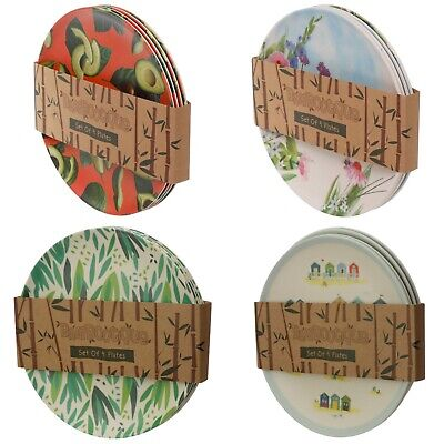 £14.49 • Buy Set Of 4 Bamboo Eco Friendly Plates - Pack Side Dinner Picnic Travel No Plastic
