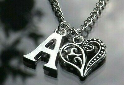 £3 • Buy Personalised Initial 20  Necklace Filigree Heart Pendant & Silver Plated Letter