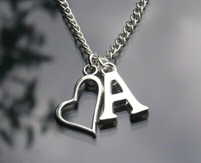 £2 • Buy Personalised Initial Necklace Heart Outline Pendant & Silver Plated Letter 16-30