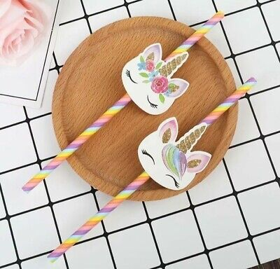 AU10.95 • Buy Unicorn Rainbow Party Straws Birthday Party Decorations Table Favours