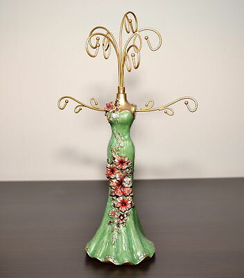 Beautiful Mannequin Jewellery Stand / Tree Display Necklace Holder Lady Green • 11.99£