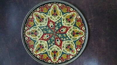 C.20th - Vintage Greece Byzantine Mosaic Enamel On Brass Wall Plate  • 15£