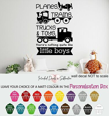 £13.99 • Buy Planes, Trains, Trucks & Toys, Little Boys Wall Art Sticker Quote Decal Vehicles