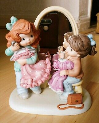 ENESCO 1993 Sisters & Best Friends Porcelain Figurine Mirror EHW Enterprise • 44.99£