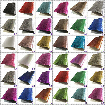Chunky Sparkling Glitter Fabric In A4.A5 & A6 Sheets Hair Bows Crafts Code #021 • 2.99£