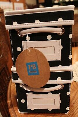 $50 • Buy Pottery Barn Teen Black Dottie Canvas Bins, Size Mini, Brand New & Free Shipping