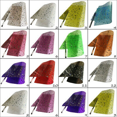 Transparent Vinyl Sheets Silver Holographic Stars A4 Hair Bows Crafts Code # 372 • 2.94£