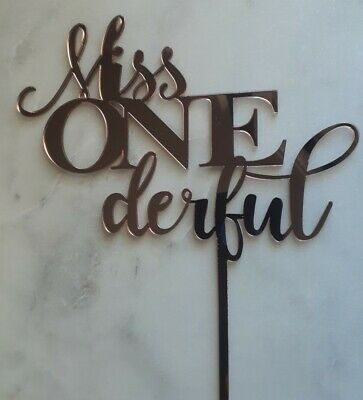 AU16.95 • Buy 1st Birthday Miss Onederful Mirror Cake Topper | First Party Rose Gold Silver