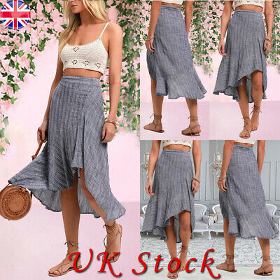 Women Boho Check Ethnic Long Ruffle Skirt Ladies Casual Summer Beach Midi Dress • 8.05£