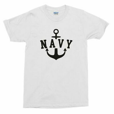 Retro Navy Anchor T-Shirt - Vintage Style Military Top, Also In Blue, S-XXL • 16.99£